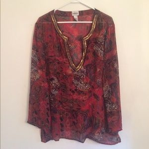 Chico's 100% rayon dark red multi color tunic